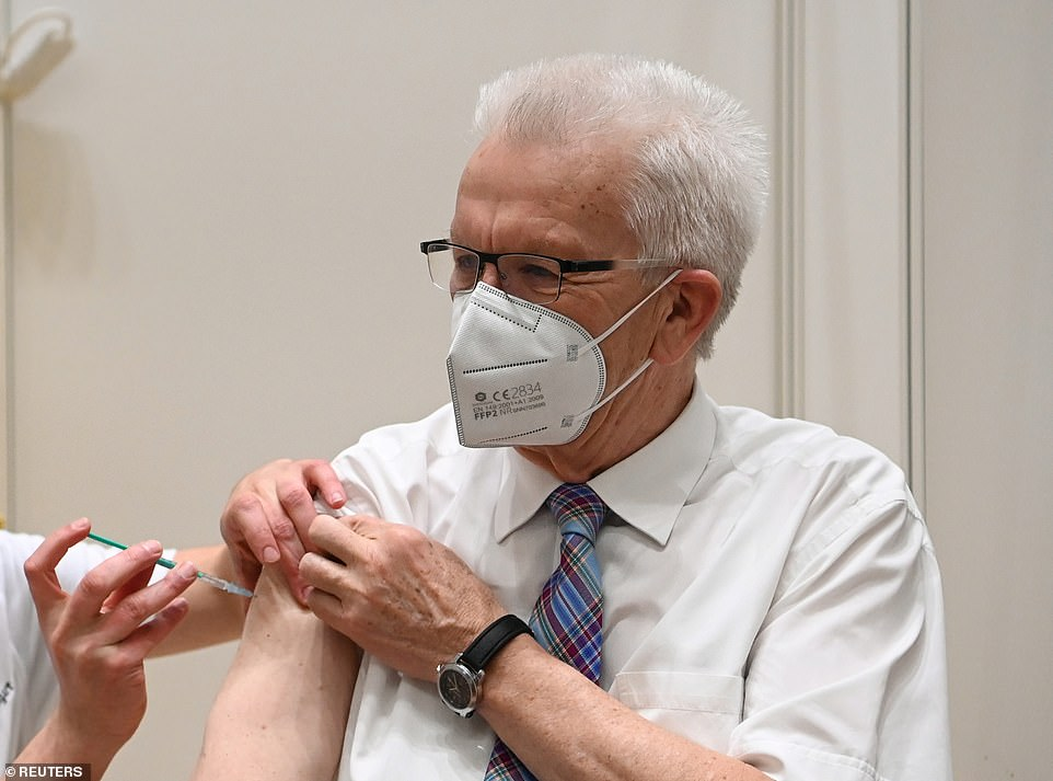 Winfried Kretschmann, the leader ofu00A0Baden-Wuerttemberg state in Germany, was photographed getting an AstraZeneca shot as European leaders try to rebuild confidence in the vaccine