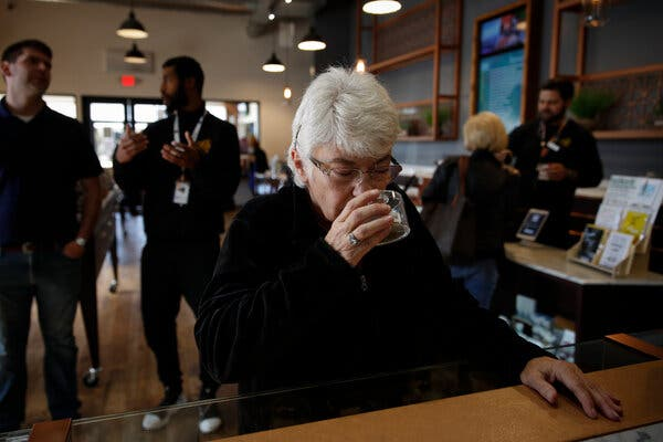Older customers at Bud and Bloom, a cannabis dispensary in Santa Ana, Calif., in 2019.