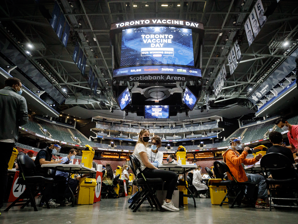 Scotiabank Arena in Toronto was turned into a mass vaccination clinic in the push to get people vaccinated in the face of variants.